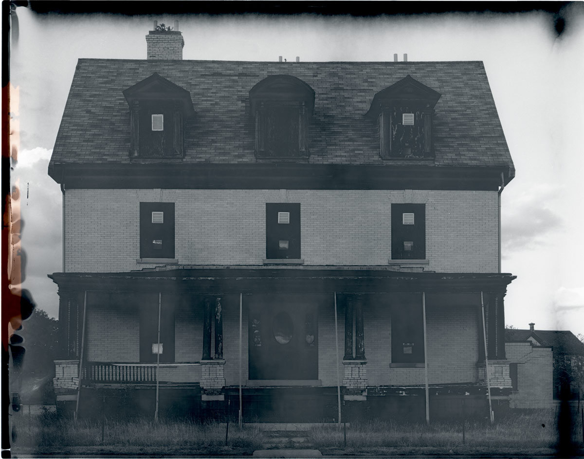 Scan of the print of a New55 photo of a building on Officers Row at Sandy Hook, New Jersey