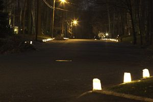 A street full of luminaries