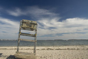 Empty lifeguard's chair