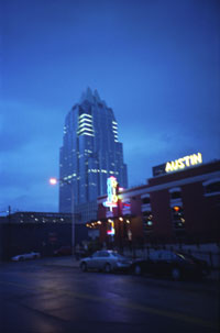 Frost Tower, Rio Grande restaurant, and neon in Austin, Texas